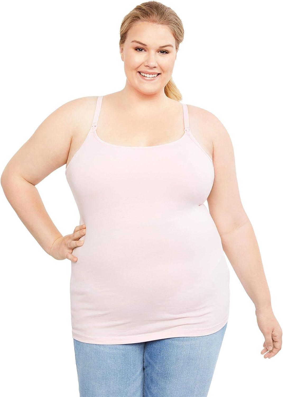 Motherhood Maternity Womens Maternity Clip Down Nursing Tank Top Cami Chalk Pink 1X