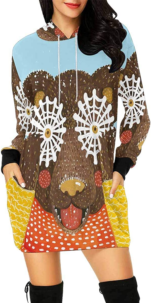 INTERESTPRINT Womens Hoodie Dress Tunic Long Tops Humpback Whale Long Sleeve Pullover Sweatshirt