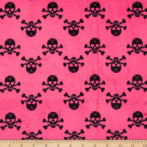 E.Z Fabric Minky Jolly Rogers Skull & Bones Hot Pink/Black Fabric by The Yard,