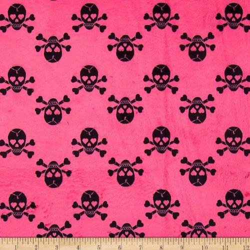 (E.Z Fabric Minky Jolly Rogers Skull & Bones Hot Pink/Black Fabric by The Yard,)