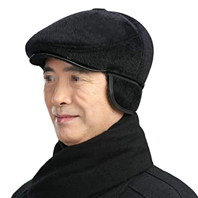 Boomly Winter Hat for Old Men Faux Fur Warm Hat Bomber Hat with Earflap  Bomber Hat 1f77f1b0095a