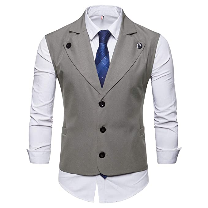 MODOQO Mens Business Dress Suit Vest Slim Fit Lapel Single Breasted Waistcoat at Amazon Mens Clothing store: