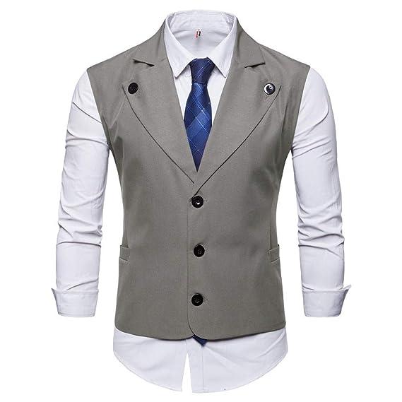 Botón de los Hombres Chaqueta sin Mangas con Estampado Casual Abrigo Chaleco de Traje británico Blusa de Internet: Amazon.es: Ropa y accesorios