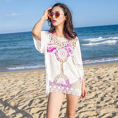 &qq Mujer blusa de encaje largo, pesca neto hollow hook flower beach clothes, blusa de bikini chaqueta, falda de punto , one size , white White