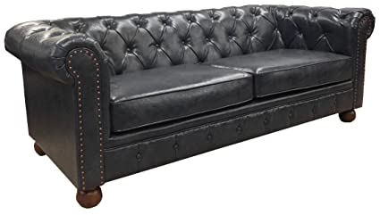 Exceptionnel Armen Living LC10603ATBL Winston Sofa In Blue Bonded Leather And Walnut  Wood Finish Wood