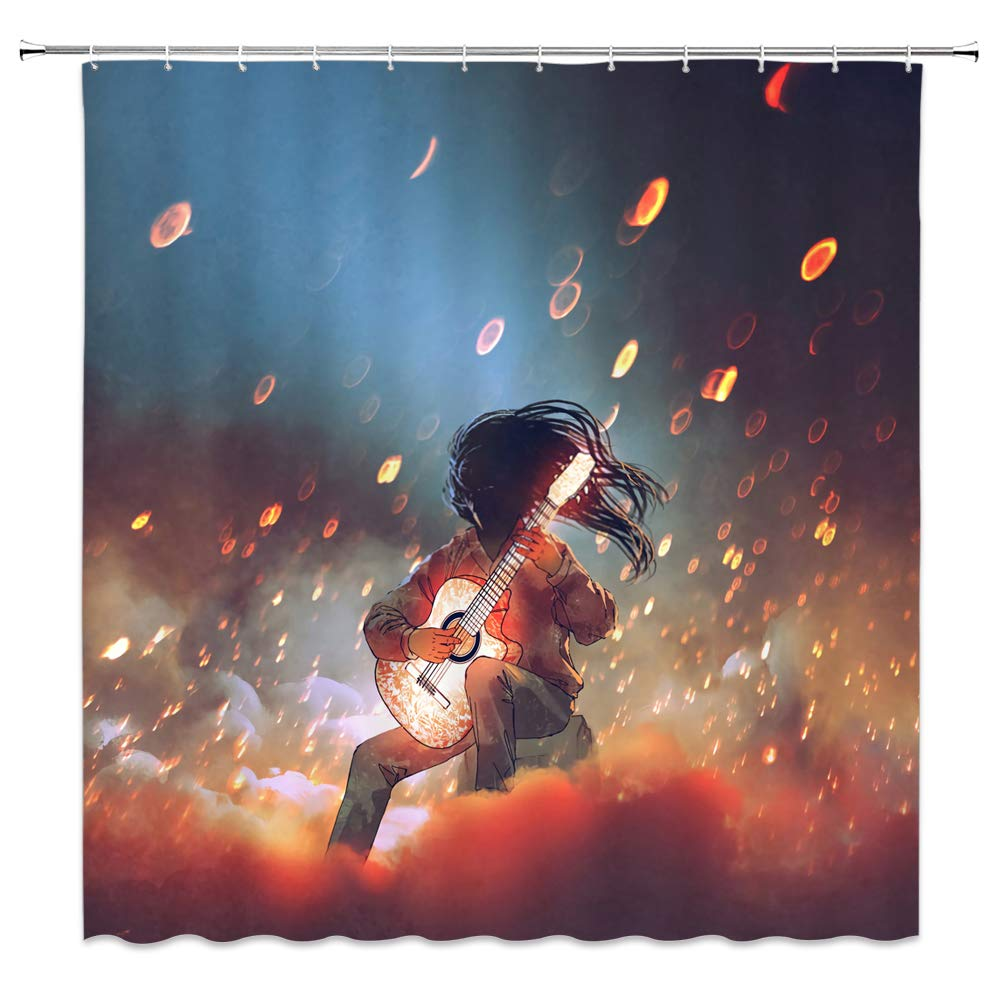 dachengxing Boy Music Shower Curtain Retro Decor Cartoon Long Hair Kid Playing Guitar Dream Halo Fantasy Night,Waterproof Gray Blue Red Fabric 70x70 Inch Hooks Included by dachengxing