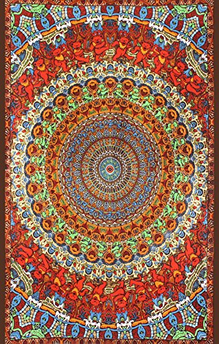 Handmade Cotton Grateful Dead Tapestry Psychedelic Bear Vibrations 60x90 ()