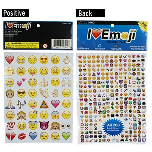 Expanding Photo Organizer (6 Pages 48 Stick Per Sheet 288 Die Cut Novelty Random Mixed Emoji Stickers Button Home Creative Cartoon Ihome Iphone Phone Plus Touch Replacement Sticker Kids Kit Piece Set Waterproof Color Decor)