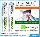 DequadinTM Lozenge with Dequalinium Chloride 0.25mg (Couple pack of 25 Lozenges in Lemon Flavors) Professional Lozenge for For infection of the mouth and throat