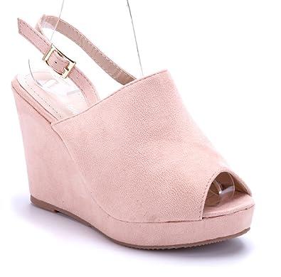 7095d2fe99d43b Schuhtempel24 Damen Schuhe Keilsandaletten Sandalen Sandaletten rosa  Keilabsatz 10 cm High Heels