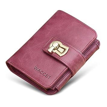 WACCET Carteras Piel Mujer Bloqueo RFID Monedero de Piel con Cremallera, Billetera de Mujer con