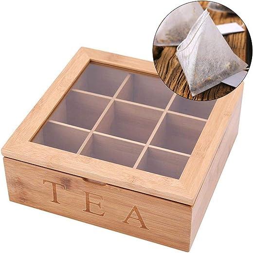Caja de Madera para Guardar té, más Grande para 90 Bolsas de té Planas o de pie, 9 Compartimentos con Tapa, Superficie de Madera Natural: Amazon.es: Juguetes y juegos
