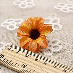 Silk Artificial Flowers Fake Flower Heads in Bulk Wholesale for Crafts Shiny Daisy Head Wedding Home Decoration Party Decor DIY Scrapbooking Chrysanthemum Accessories 50pcs 2