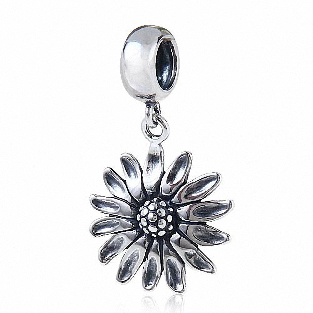 Hoobeads Sunflower Charms Pendant Authentic 925 Sterling Silver Flower Charm for European Bracelet (Antique)