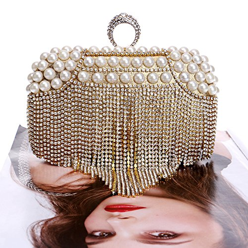 Diamante Glitter Ladies Bridal Prom Wedding Women Bag Gift For Shoulder Clubs Clutch Pearl Purse Party Gold Evening Handbag Bag Tassel wwXg4qY