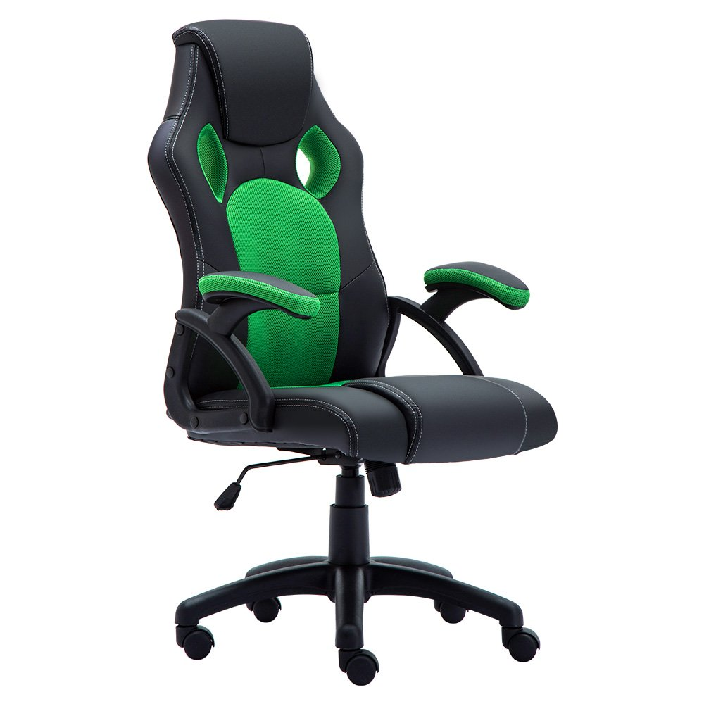 Racing Gaming Chair for Home Green PC Computer Swivel Leather Chair JL Comfurni Office Desk Chair