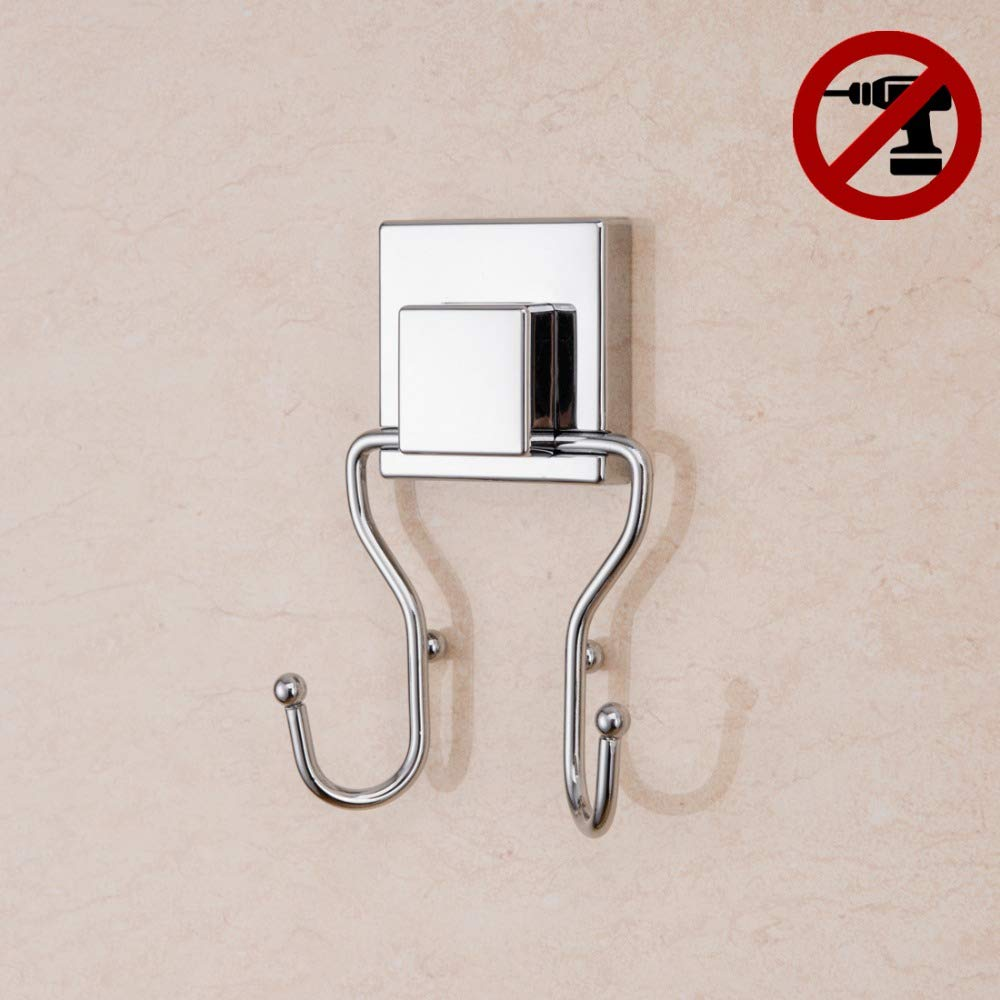 1*Bathroom Kitchen Vacuum Suction Cup Hooks Double Hooks Robe Towel Holder Rack