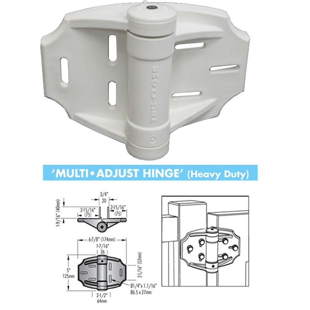 White Heavy Duty Tru-Close Self-Closing Multi-Adjust Hinges - Pair