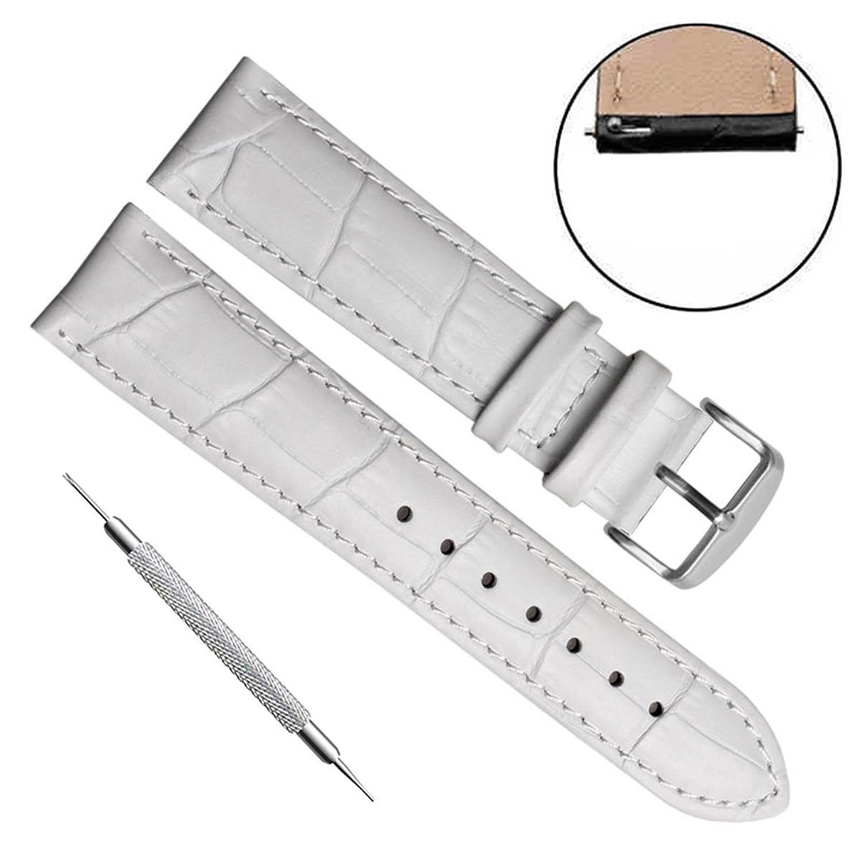 クイックリリース本革ウォッチバンドストラップステンレスメタルクラスプ付き 22mm Bamboo Leather/White  Bamboo Leather/White 22mm B074PW6123
