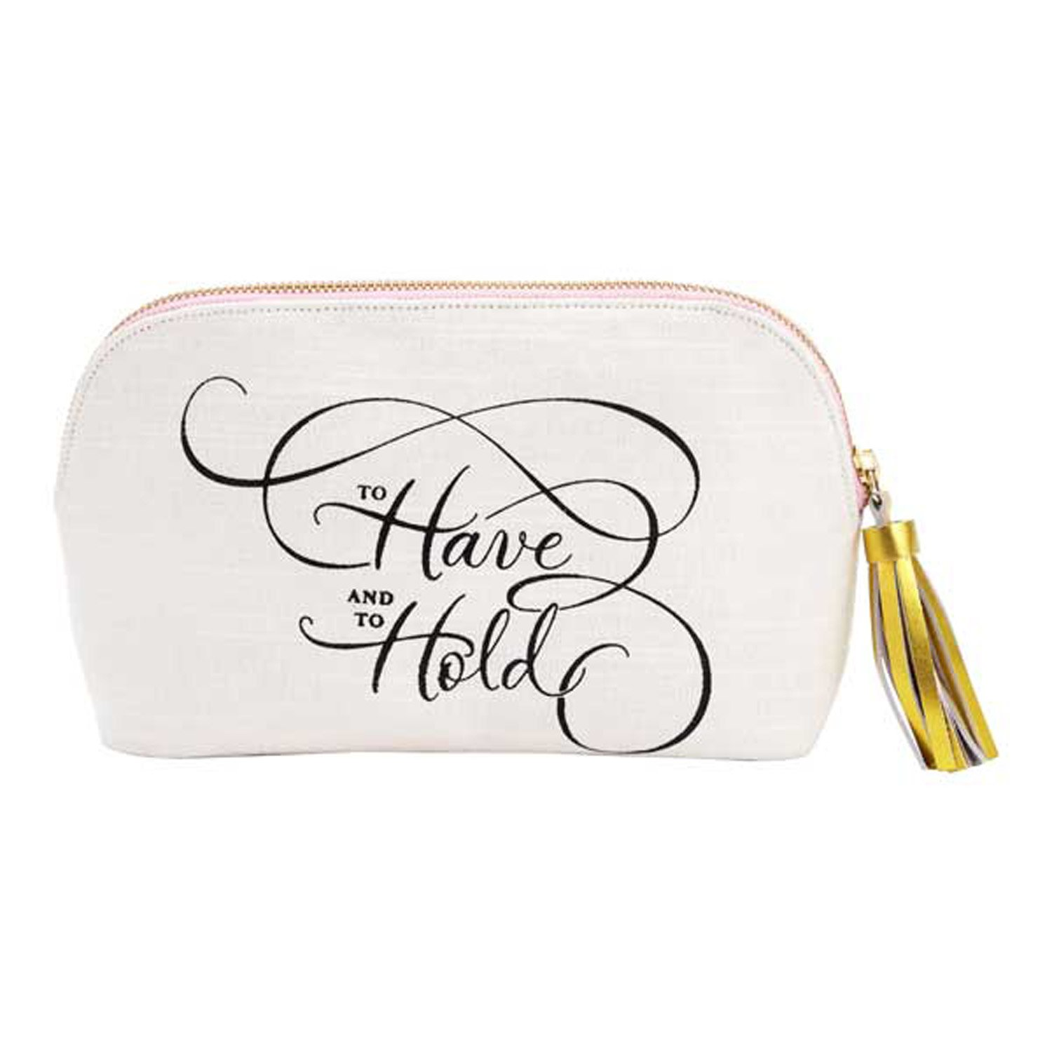 Hallmark Home To Have and to Hold Bridal Pouch, Travel Cosmetic Case with Zip Closure and Tassle Pull, For the Bride to Be