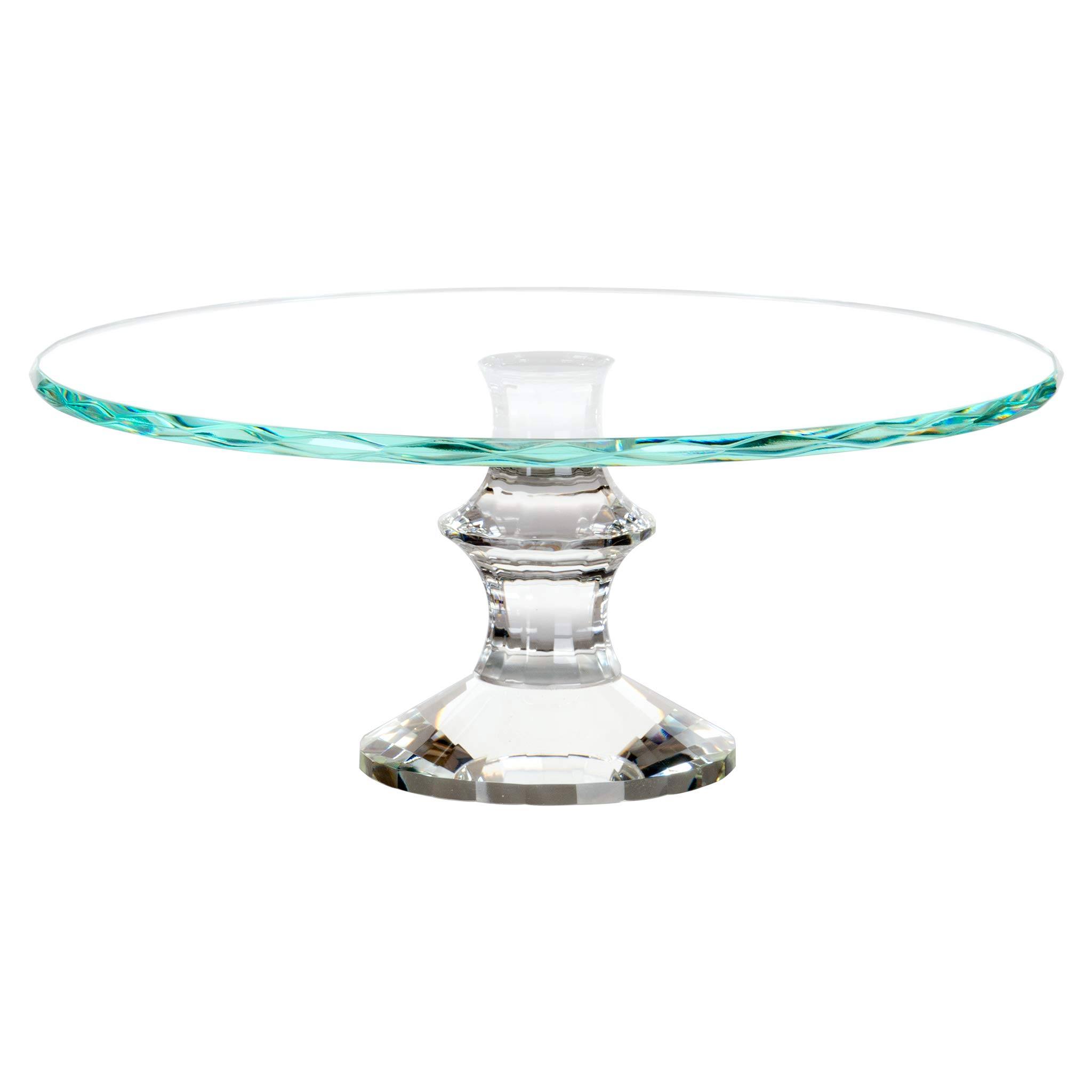 Amalfi Decor 12 Inch Glass Crystal Cake Stand, Dessert Cupcake Pastry Candy Cookie Display Plate for Wedding Event Birthday Party, Round Modern Diamond Gem Pedestal Holder by Amalfi Décor