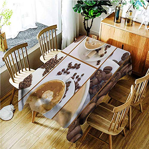 TT.HOME Outdoor Tablecloth Rectangular,Kitchen Coffee Themed Collage of Beans Mugs Hot Foamy Drink with a Heart Macro Aroma Photo,Resistant/Spill-Proof/Waterproof Table Cover,W60x120L,Brown White