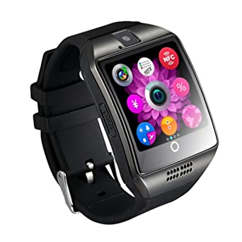 1.54 pouces Bluetooth SmartWatch Q18 montre-bracelet NFC caméra TF carte Smart Watch pour téléphone Android IOS iphone Huawei Samsung (Black): Amazon.fr: ...