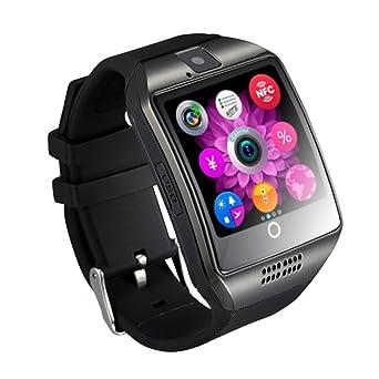 1.54 pouces Bluetooth SmartWatch Q18 montre-bracelet NFC caméra TF carte Smart Watch pour téléphone Android IOS iphone Huawei Samsung (Black): Amazon.fr: ...