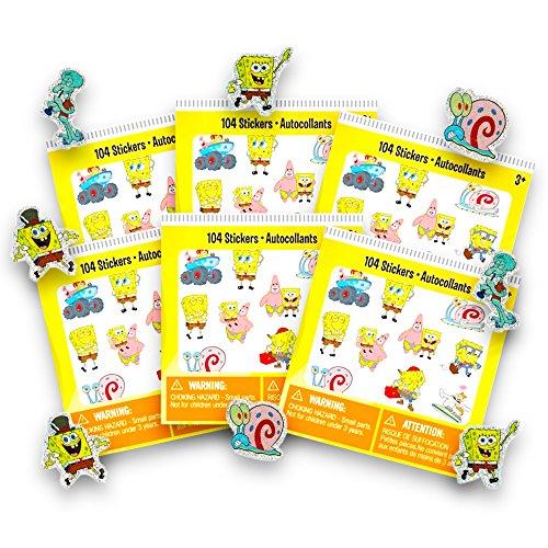 - Spongebob Stickers Party Favors Set -- 6 Sticker Packs, 624 Stickers Total (Spongebob Party Supplies)