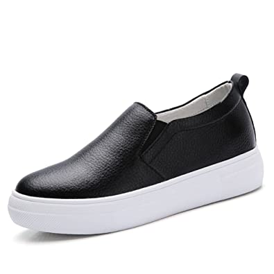 54f5650ba50 HKR Women s Black Round Toe Platform Loafer Shoes Low top Slip On Wedge  Sneakers 7 B