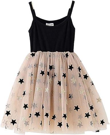 PinkLu Vestido Falda Malla sin Mangas Costuras Estrella Niña ...