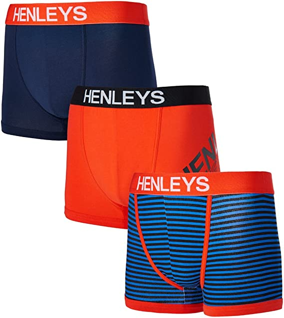 Henleys Mens 3 Pack Boxer Shorts Soft Stretch Jersey Pants Briefs Underwear Set