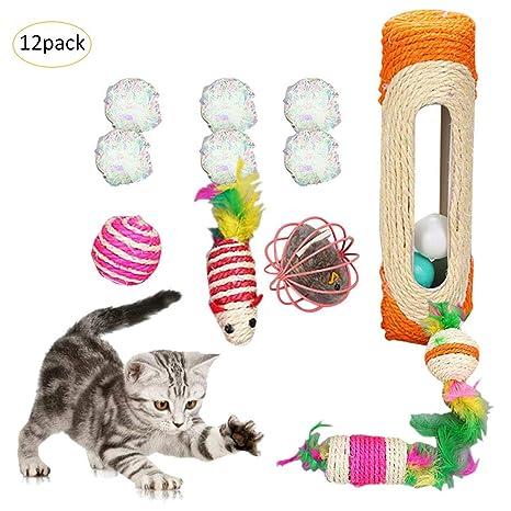Juguete interactivo para gatos, juego de 12 bolas de papel de túnel de ratón, para gatitos ...