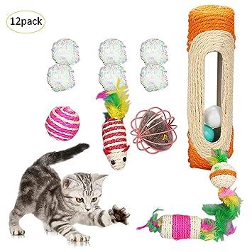 Juguete interactivo para gatos, juego de 12 bolas de papel ...