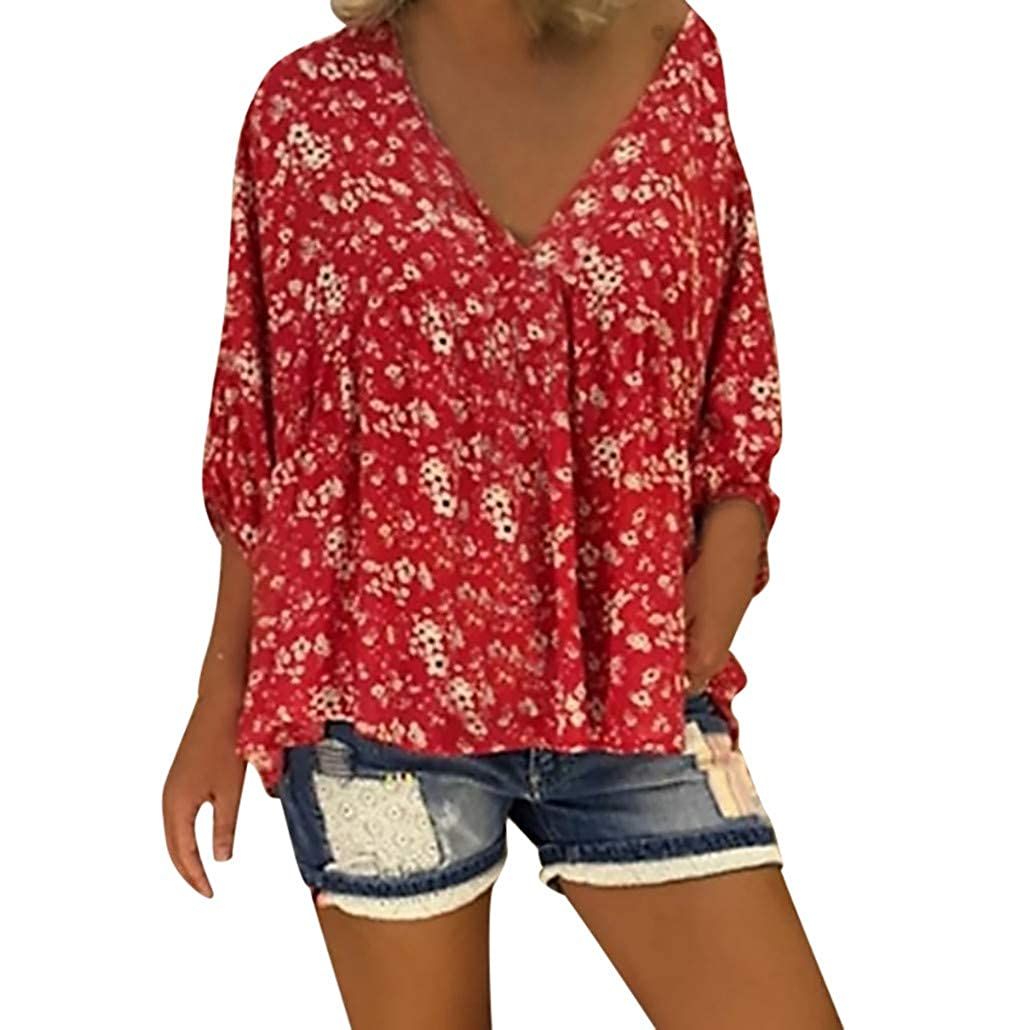 Allywit Short Sleeve Tee Blouse for Women,Womens Button-Down Short Sleeve T Shirts V-Neck Floral Print Casual Tops S-5XL