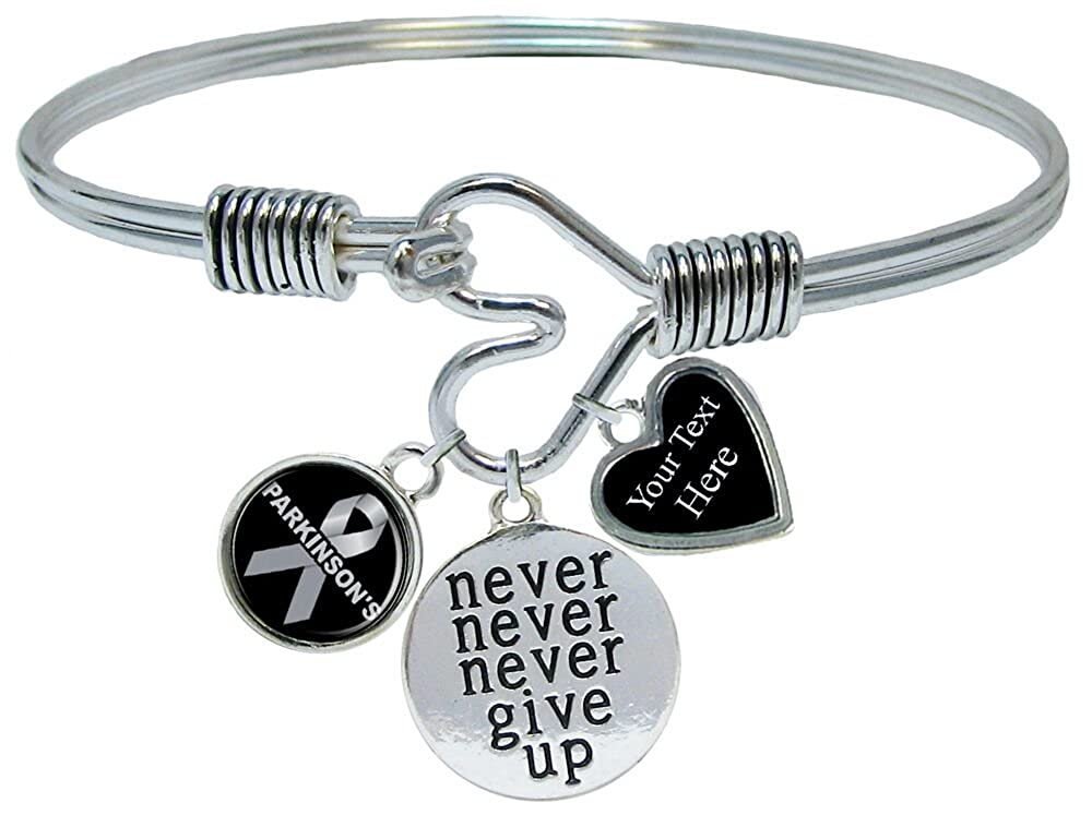 Holly Road Parkinsons Disease Awareness Never Give Up Bracelet Jewelry Choose Your Text