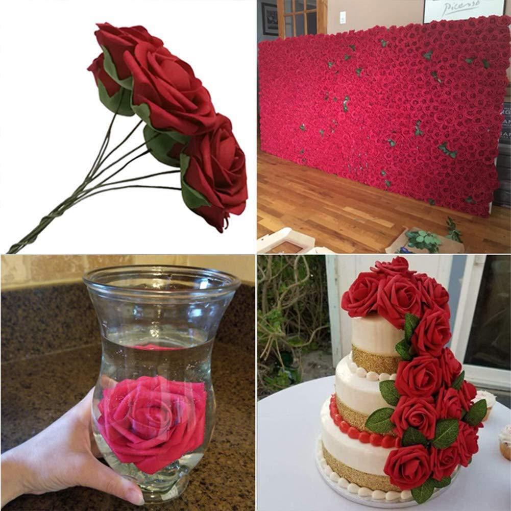 Maxtapos Lot de 25 roses artificielles en poly/éthyl/ène pour bouquet de mariage Red