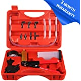 CARSC Hand Held Vacuum Pump Tester Set Vacuum Gauge and Brake Bleeder Kit for Automotive with Adapters Case