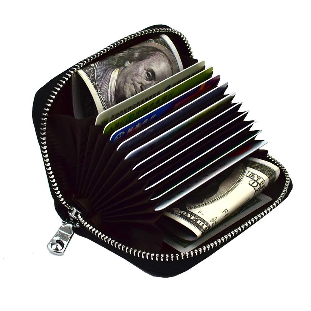 Lacheln RFID Blocking Credit Card Organizer Wallet Genuine Leather Zipper Security Travel Small Money Holder (Black)