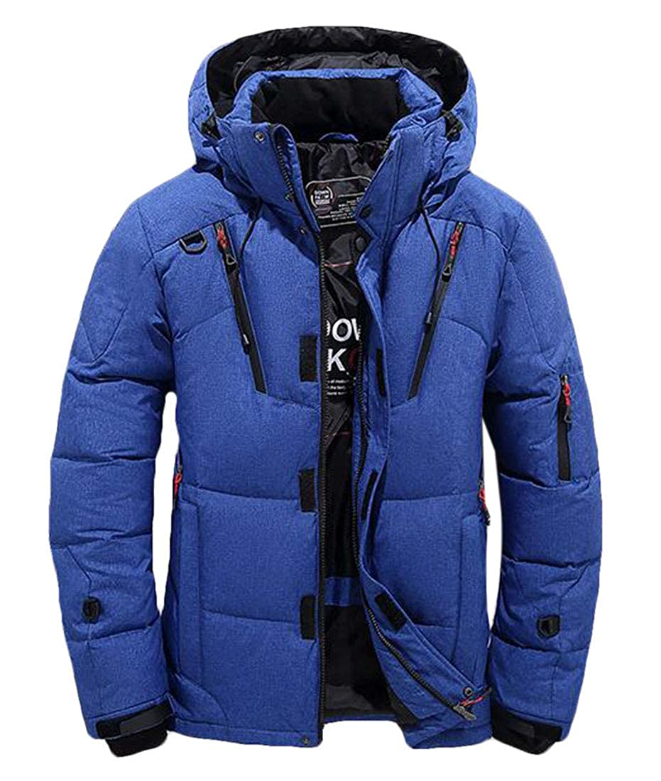 KLJR Men Thick Plus Size Winter Packable Insulated Hooded Puffer Down Jacket