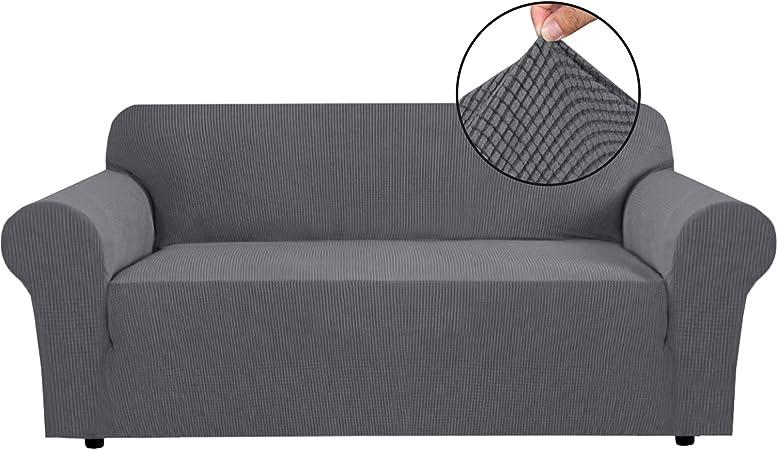 Image ofBellaHills Fundas de sofá elásticas Fundas de sofá de 4 plazas para Sala de Estar Fundas de sofá Fundas con Fondo elástico, Tela Jacquard Gruesa Suave Lavable (sofá de 4 plazas, Gris Acero)