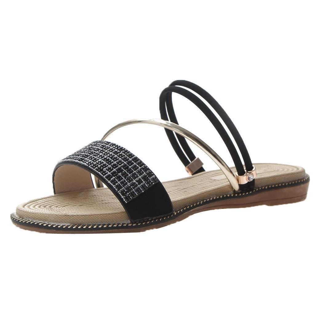 Hot Women' Chain Beads Cross Slippers Open Toe Casual Slippers Beach Comfortable Shoes Bohemian Seaside Flat Sandals (Black, 7.5)