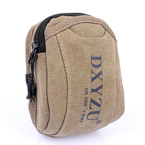 paquete Khaki udiy cinturón lona type para riñonera Hook bolsa dinero vacaciones multifuncional riñonera viaje riñonera alta corredores calidad 1Trw1P