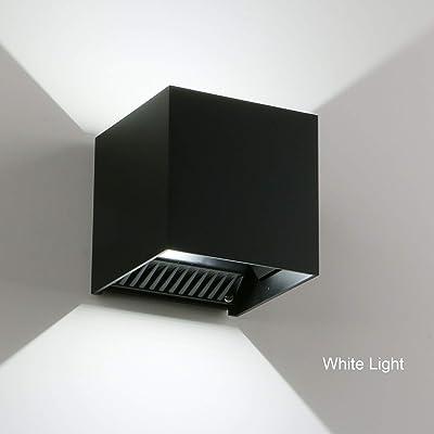 "LED Cube Exterior Aluminum IP65 Waterproof Wall Lamp, Yosoan 6000k 4.7"" 20W Super White Modern Fixture Light 86-265V Adjustable Outdoor Indoor Wall Black Sconce Lamp Up Down"