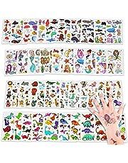 Tattoo kinderen, 40 vellen tijdelijke tatoeages set met dinosaurussen, onderwaterwereld, tekenfilm dieren, zeemeermin papieren tattoo stickers, kinder stickers set voor weggeefacties, feest, festival voor kinderen