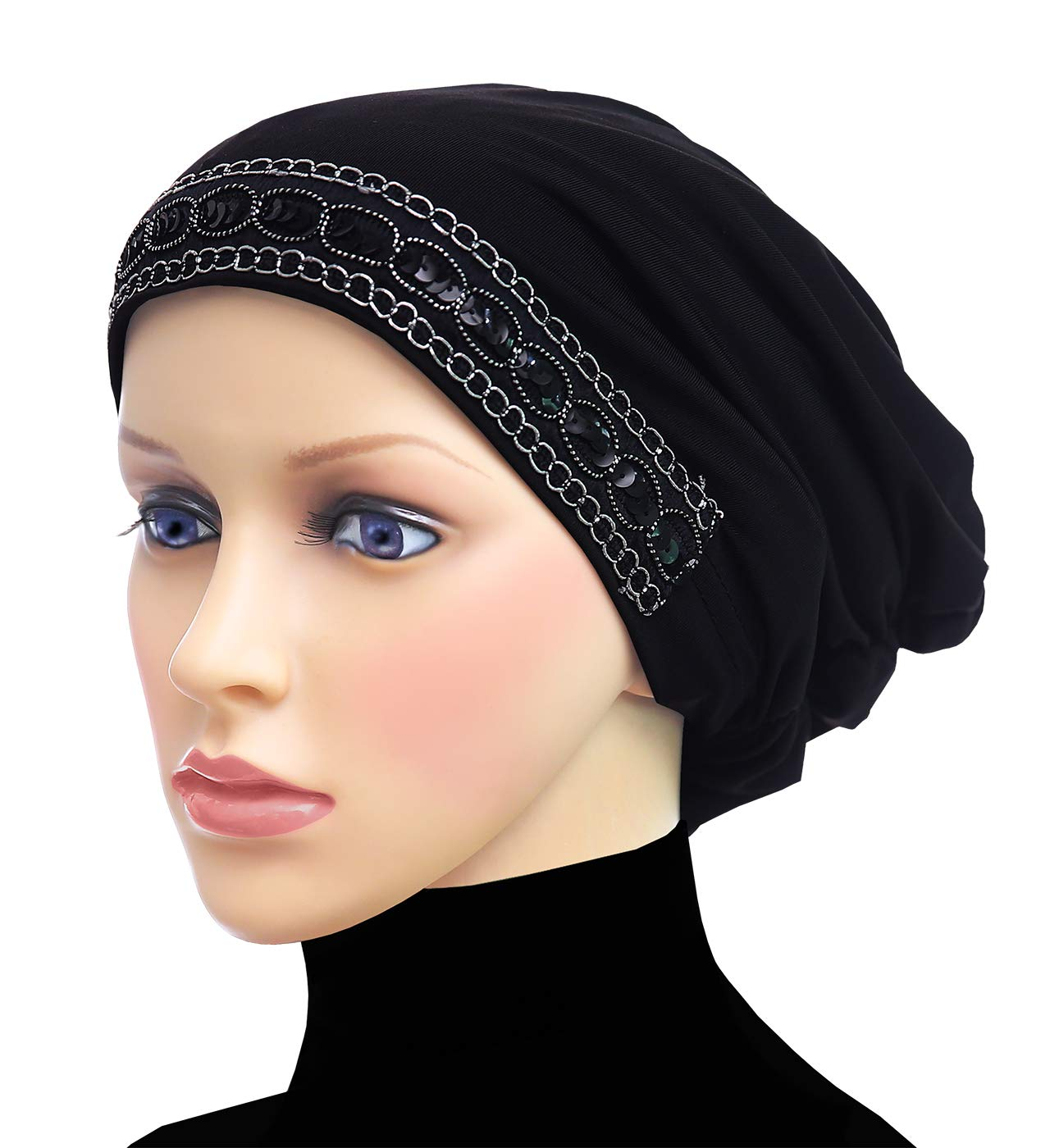 Middle Eastern Mall Luxor Fashion Snood Caps Women Chemo Beanie Hat (Black)