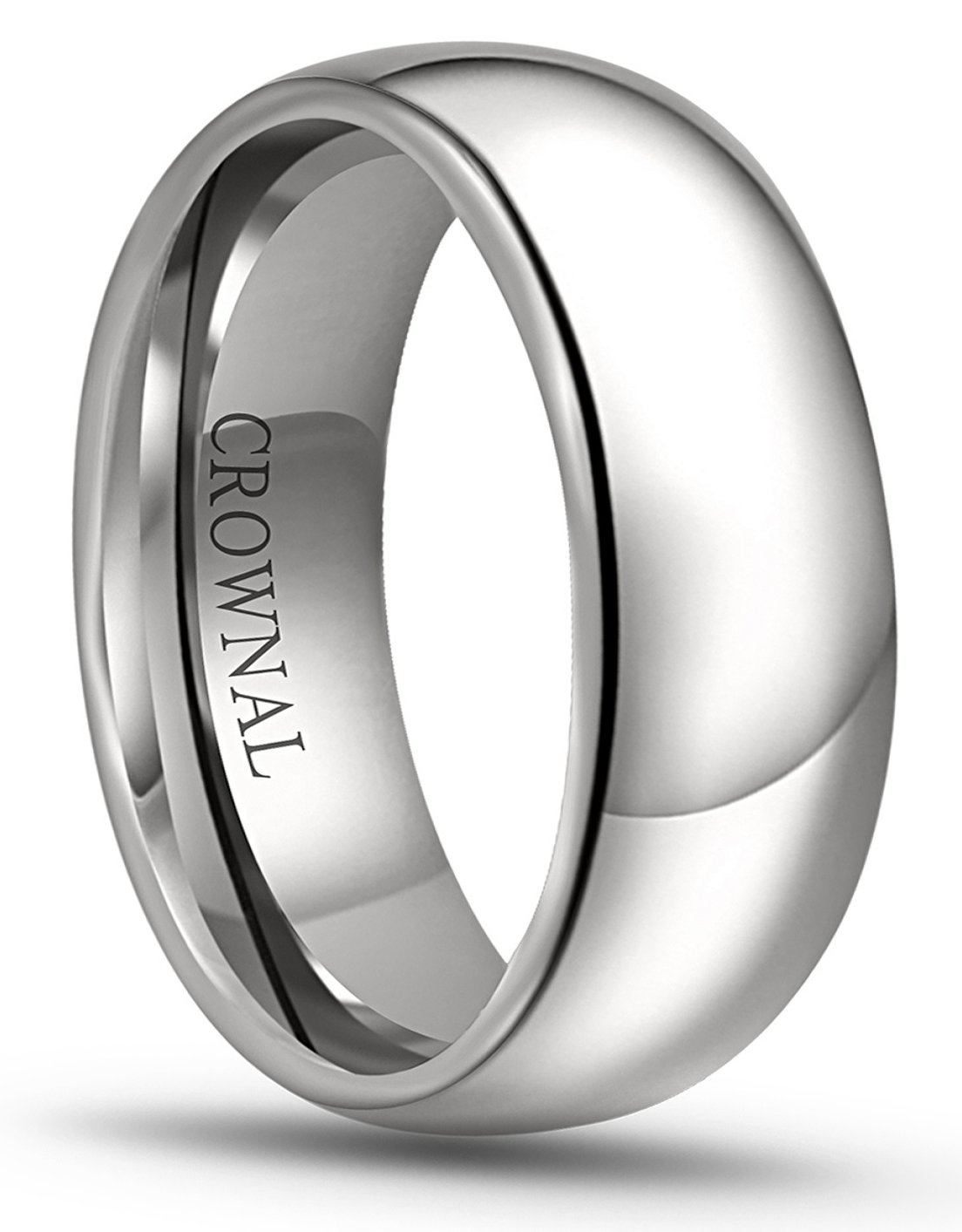 Crownal 8mm 6mm 5mm 4mm 3mm 2mm White Tungsten Carbide Polished Classic Dome Wedding Ring All Sizes (8mm, 15) by CROWNAL