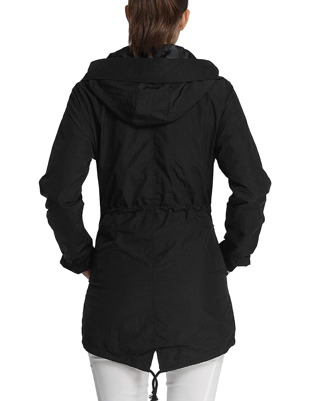 a815c647b3f 4How Women Hooded Waterproof Jacket with Drawstring Raincoat  Amazon.co.uk   Clothing