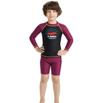 120dde183f CADong Boys Girls 2PCS Swimsuit long Sleeve UV Sun Protection Rash Vest and Swim  Shorts UPF