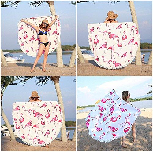 Aminiture Pink Flamingo Beach Towel Picnic Blanket Beach with Fringe Tassels Yoga Mat 59inch (Flamingo) -